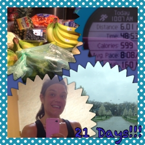 It's a rainy Sunday! Up early this morning to complete our usually grocery shopping. Tons of fresh produce to clean and cut-up, I am very lucky as Dana took this task on today! Thanks Dana!!! 6 indoor miles today. Was a hard 6 as my body is a little tired from yesterday's 13.4 and yard work, have to push on!! Going to enjoy the rest of this rainy day. 21 days till the Cleveland 1/2, not going to lie I am pretty excited. Not sure if I am excited for the race or to see my family :)