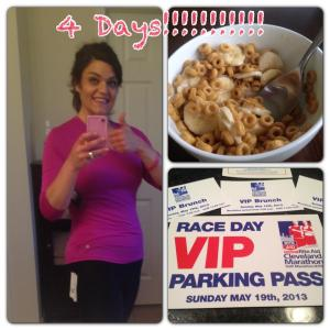 Only 4 days till the big race! I had an ok yoga class today, didn't have the usual instructor so it was so/so. The instructor we had was just starting and we were her first class. Can't be too sad about that, we all start somewhere and she did great for a 1st class! My day started with my favorite breakfast, banana but Cheerios a banana and 1/2 cup of milk. Yummmm I always look forward to this during my morning workout! This race is really happening!! Received my bib number and parking pass today. Wow, is it Sunday yet?! I am so excited. There are two things I am nervous about for race day 1) how in the heck to start the race with over 15,000 people 2) how can we be sure my family sees me finish? Running friends any advice would be helpful!! *Also thanks to my Aunt Cathy and Uncle Mike for this Awesome new workout gear!